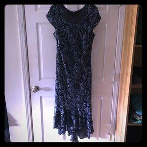 Long Hi-Lo Cap Sleeve Dress